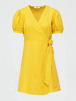 v-by-very-linen-wrap-dress-yellow