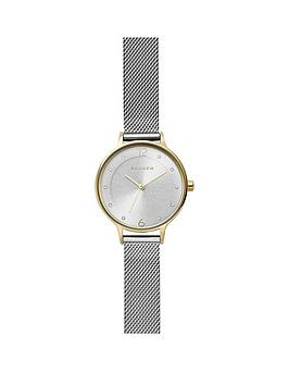 skagen-silver-sunray-and-gold-detail-dial-stainless-steel-mesh-strap-ladies-watch