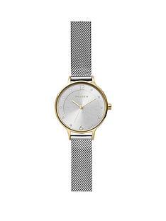 skagen-skagen-silver-sunray-and-gold-detail-dial-stainless-steel-mesh-strap-ladies-watch