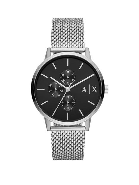 armani-exchange-armani-exchange-black-textured-dial-stainless-steel-mesh-strap-watch