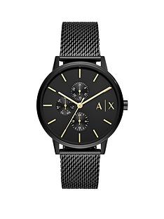 armani-exchange-armani-exchange-black-textured-dial-black-ip-stainless-steel-mesh-strap-watch