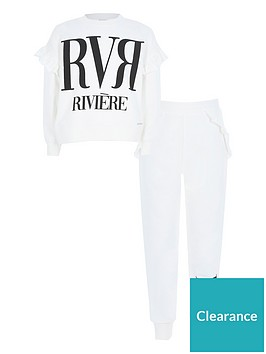 river-island-girls-slogan-ruffle-sweat-and-jogger-setnbsp-nbspcreamnbsp