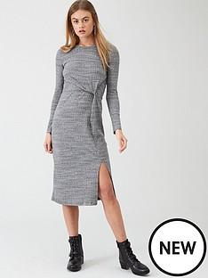 river-island-river-island-long-sleeve-twist-front-midi-dress--charcoal