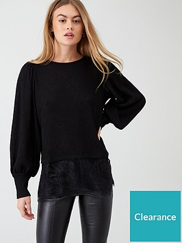 river-island-river-island-lace-hem-long-sleeve-top--black