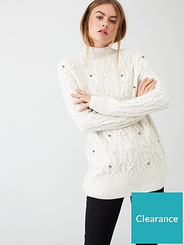 river-island-river-island-embellished-cable-knit-tunic-jumper-cream