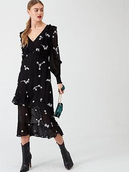 river-island-river-island-daisy-embroidered-frill-midi-dress--black