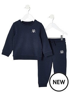 river-island-mini-mini-boys-rvr-sweatshirt-and-jog-pant-set-navy