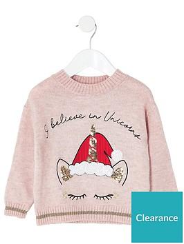river-island-mini-mini-girls-unicorn-christmas-jumper-pink