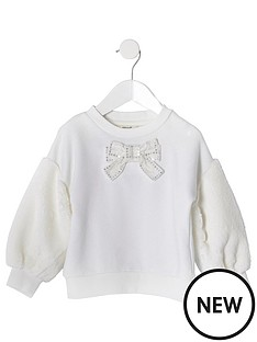 river-island-mini-mini-girls-faux-fur-sleeve-sweat-cream
