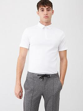 river-island-white-short-sleeve-muscle-fit-rib-polo-shirt