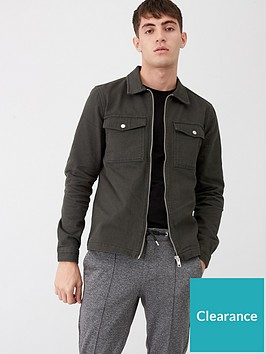 river-island-khaki-zip-front-regular-fit-denim-overshirt