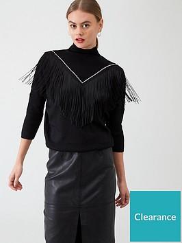 river-island-river-island-knitted-tassel-fringe-jumper--black