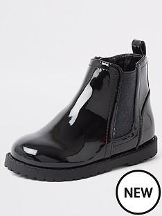 river-island-mini-mini-girls-patent-glitter-boot-black
