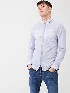 river-island-blue-mixed-print-blocked-slim-fit-shirt