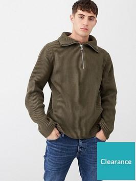 river-island-khaki-fisherman-knit-half-zip-jumper
