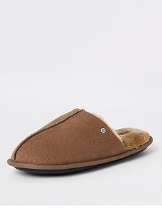 river-island-brown-faux-fur-lined-mule-slippers