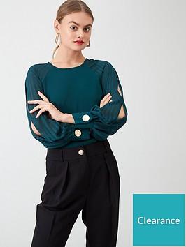 river-island-river-island-split-sleeve-blouse--dark-green