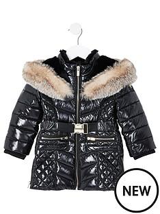 river-island-mini-mini-girls-high-shine-longline-coat-black