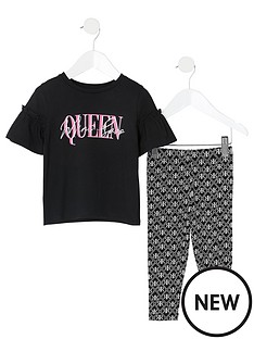 river-island-mini-mini-girls-printed-frill-tshirt-and-legging-set--black