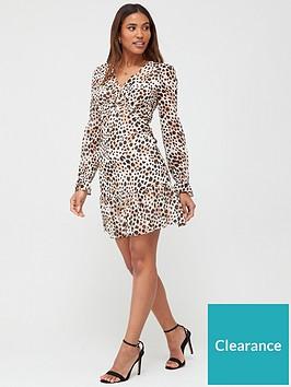v-by-very-georgette-twist-front-mini-dress--print