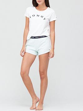 tommy-hilfiger-short-sleeve-short-set-white