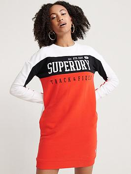 superdry-panel-sleeve-sweat-dress-red