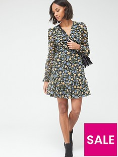 v-by-very-wovennbsptwist-front-mini-dress--nbspfloral