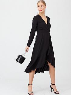 v-by-very-ruffle-woven-midi-dress-black