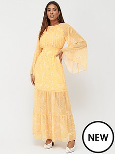v-by-very-shirred-waist-tiered-midaxi-dress-yellow-floral