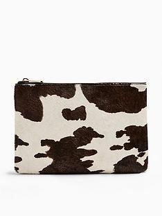 topshop-perla-cow-print-zip-pouch-monochrome