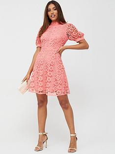 v-by-very-high-neck-blouson-sleeve-lace-skater-dress-coral