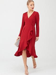 v-by-very-ruffle-woven-midi-dress-rust