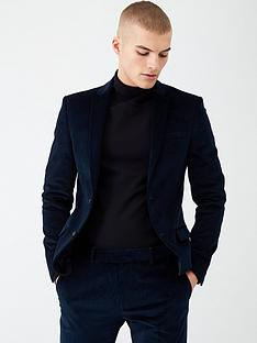 river-island-blue-cord-single-breasted-skinny-suit-jacket