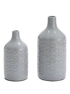 set-of-2-grey-faceted-vases