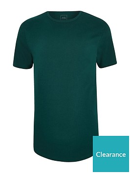 river-island-green-teal-muscle-fit-curved-hem-t-shirt