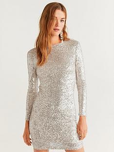 mango-silver-sequin-shift-dress