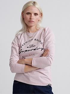 superdry-dunne-stripe-long-sleeved-graphic-top-pink-stripe