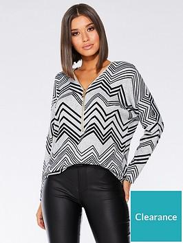 quiz-light-knit-zip-top-greyblack