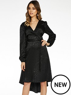 quiz-jacquard-satin-dip-hem-long-sleeve-dress-black
