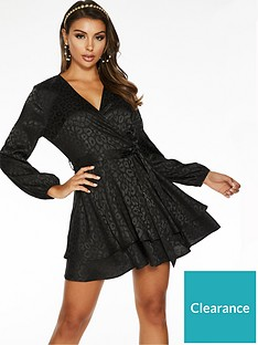 quiz-jacquard-satin-skater-dress-black