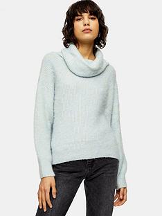 topshop-brushed-oversized-roll-neck-jumper-sage