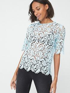 v-by-very-lace-short-sleeve-shell-top-blue