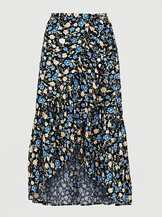 v-by-very-linen-ruffle-front-wrap-midi-skirt-black-floral