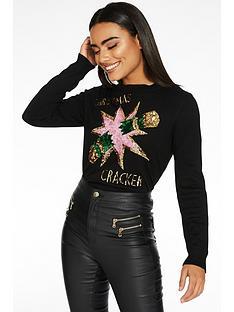 quiz-knit-sequin-long-sleeve-cracker-slogan-xmas-jumper-black