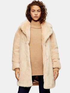 topshop-mid-length-faux-fur-jacket-nude