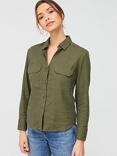 v-by-very-linen-button-through-shirt-khaki