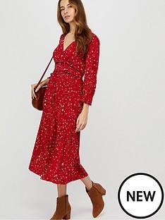 monsoon-star-print-midi-dress-red