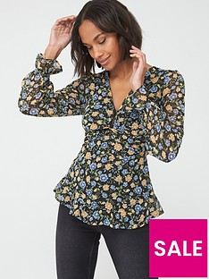 v-by-very-floral-twist-front-blouse-blackfloral