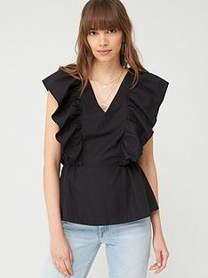 v-by-very-ruffle-cotton-blouse-black