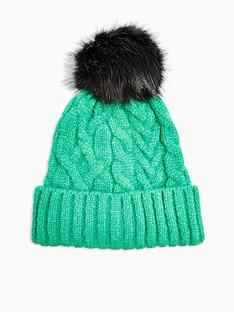 topshop-cable-knit-faux-fur-pom-pom-beanie-green